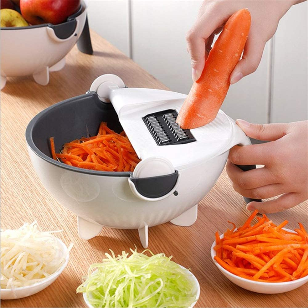 Multifunctional Vegetable Mandoline Slicer With Rotating Drain Basket
